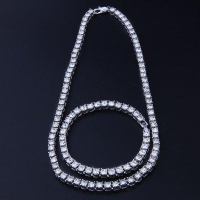 1 Row 5mm Tennis Necklace Iced Out 22 inch Chain and 8 inch Bracelet Set