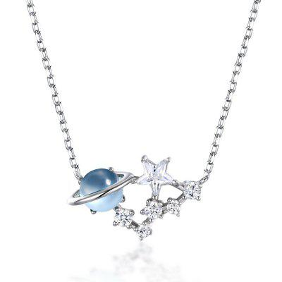 Real 925 Sterling Silver Pendant Necklace Women Natural Sky Blue Topaz Zircon Diamond Chains Jewelry