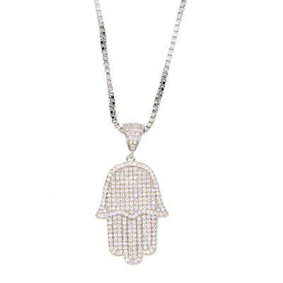 White Gold Mens Hip-hop Bling  Cubic Zirconia Icedd Out Chain Necklace