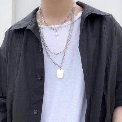 Multilayer Hip-hop Long Chain with Personality Cross Square Cool Simple Necklace