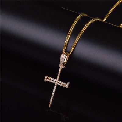Gold Zircon Nail Cross Pendant Iced Cross CZ Pendants Bubble Letter Chain Necklace Fashion Jewelry