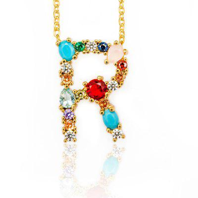 Multicolor Charm Gold Pendant Necklace Micro Pave Zircon Chain Necklaces Womens Gift