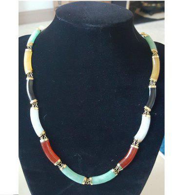Multi Colored Jadeite with 14 Karat Gold Clasp and Link Necklace Women Mens Jewelry