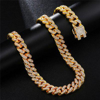 Hip Hop 45mm Cuban Link Iced Out Cuban Chain For Men Bling Rhinestone Chaine Homme Fashion