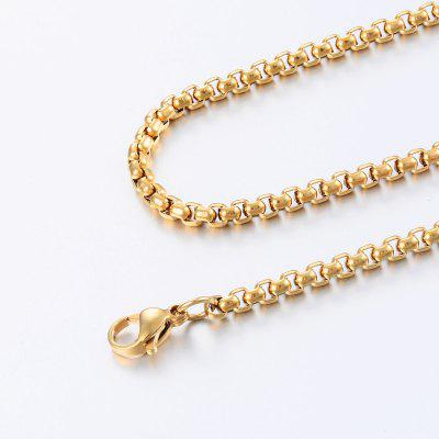 Width 3mm 4mm 5mm Gold Stainless Steel Round Box Link Chain Necklace