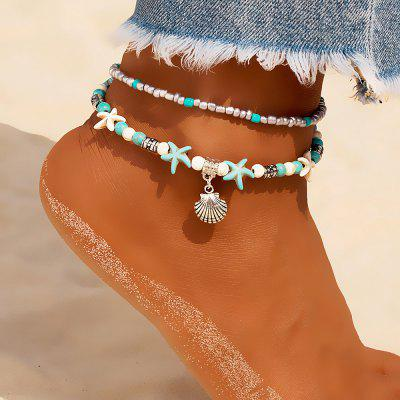 Vintage Shell Beads Anklets For Women Multi Layer Anklet Leg Bracelet Bohemian Beach Chain Jewelry
