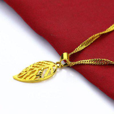 24k Gold Delicate Hollowed-out Leaves With Water-wave Chain Long Necklaces Wholesale Price Gold