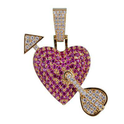 Solid Heart Necklace Pendant With Arrow Gold Silver Color Bling Cubic Zircon Rope Hip hop Chains