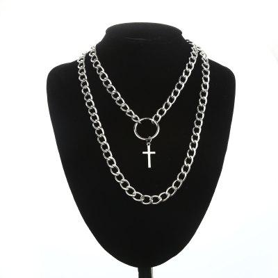 Layered Chain Necklace Punk Fashion Boys Cross Pendant Necklace Women Men Metal Chains
