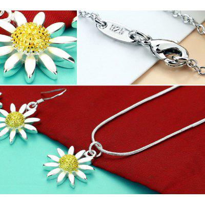 Fashion Beautiful Sunflowers Jewelry Solid 925 Sterling Rope Chain