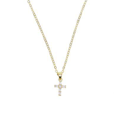 925 Sterling Silver Cross Pendant Necklaces Woman Mini Charm Chain
