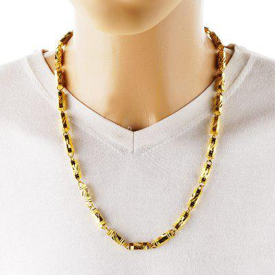Long 60 50 45cm Bamboo Joint Real 24KT Gold Chain Necklace NL59