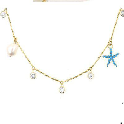 Fresh Summer Ladies Starfish Pendant Necklace 14k Gold Collar Chain Fashion Women Jewelry