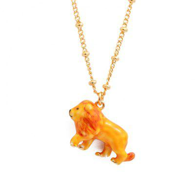 Handmade Enamel Glaze Lion Chain Pendant Necklace Collarbone Chain Woman Animal Necklace