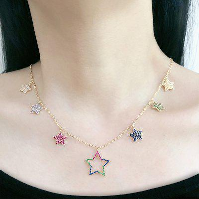 Multicolor Pentagram Cubic Zirconia Simple Gold Chain Pendant Necklace Women Fashion Jewelry