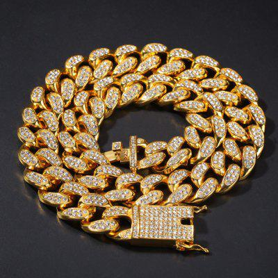 Miami Diamond Cuban Link Choker Chains Necklaces Men Hip Hop Bling Iced Out Necklace Jewelry