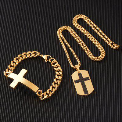 Fashion Stainless Steel Dog Tag Cross Necklace Pendant