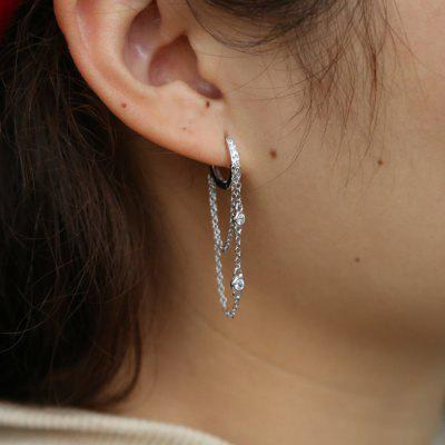 925 Sterling Silver Tassel Ear Chain Earring Elegance Girlfriend Gift