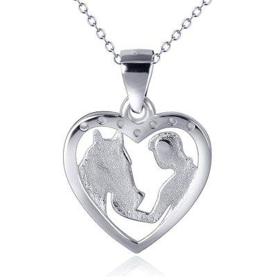 925 Sterling Silver Chain For Girls Feeding Horse Heart Pendant Necklace