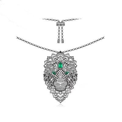 Luxury Cubic Zirconia Necklaces Lion Chain Pendant Women Fashion Jewelry