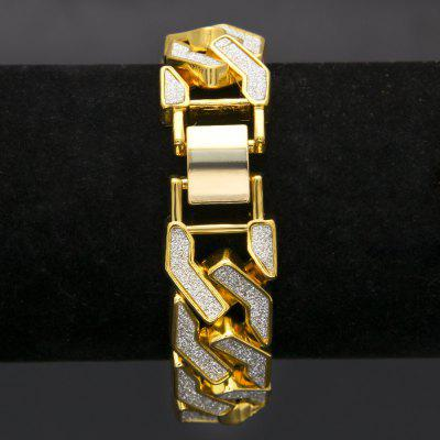 Cuban Chain Link Alloy Iced Out Hip Hop Gold Silver Tone Heavy 16mm Mens Bling Bracelet