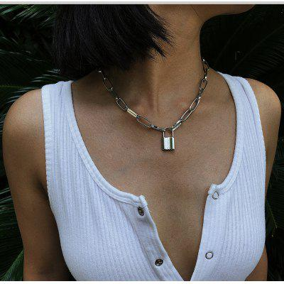Hiphop Fashion Lock Necklace for Women Gold Chunky Necklace Chain