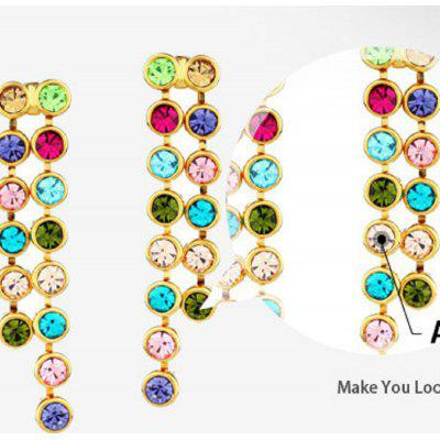 Round Beads Long Drop Earrings Geometric Colorful Chains