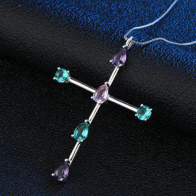 Copper Cross Pendant Necklace Set In Cubic Zirconia White Gold Necklace Chain Jewelry