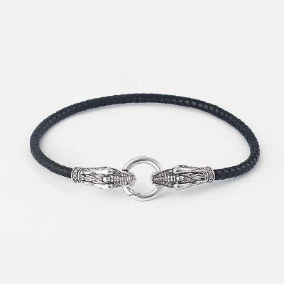 Genuine Leather Choker Necklace Antique Dragon Chain Collar Choker With Black Braided Leather