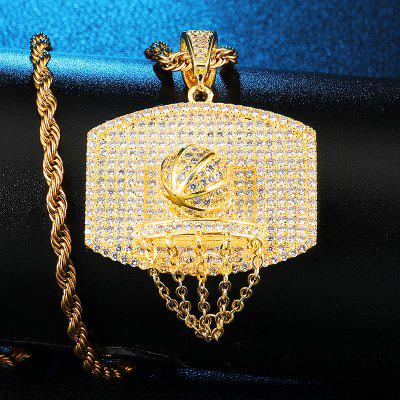 AAA CZ Stone Paved Bling Iced Out Basketball Chain Zircon Pendants Necklace