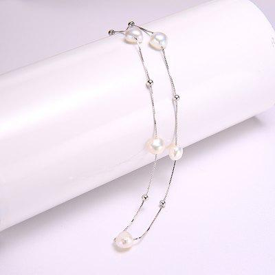 925 Sterling Silver Necklace Chain Simple Chain Floating Pearl Necklace Charm Wedding