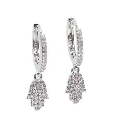 Silver Color Jewelry Classic Dangle Ear Jewelry Chain Fatimas Hand Charm Earring