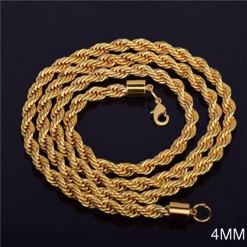 Fashion Silver Chain Necklace Twist Rope Chain Choker for Women 20,22,24,26 inch