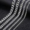 Personalized Size Men Necklace Stainless Steel Cuban Link Chain Silver Color Male Jewelry Gifts