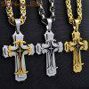 Stainless Steel Jesus Christ Cross Pendant Necklace Byzantine Link Chain Silver Gold for Mens