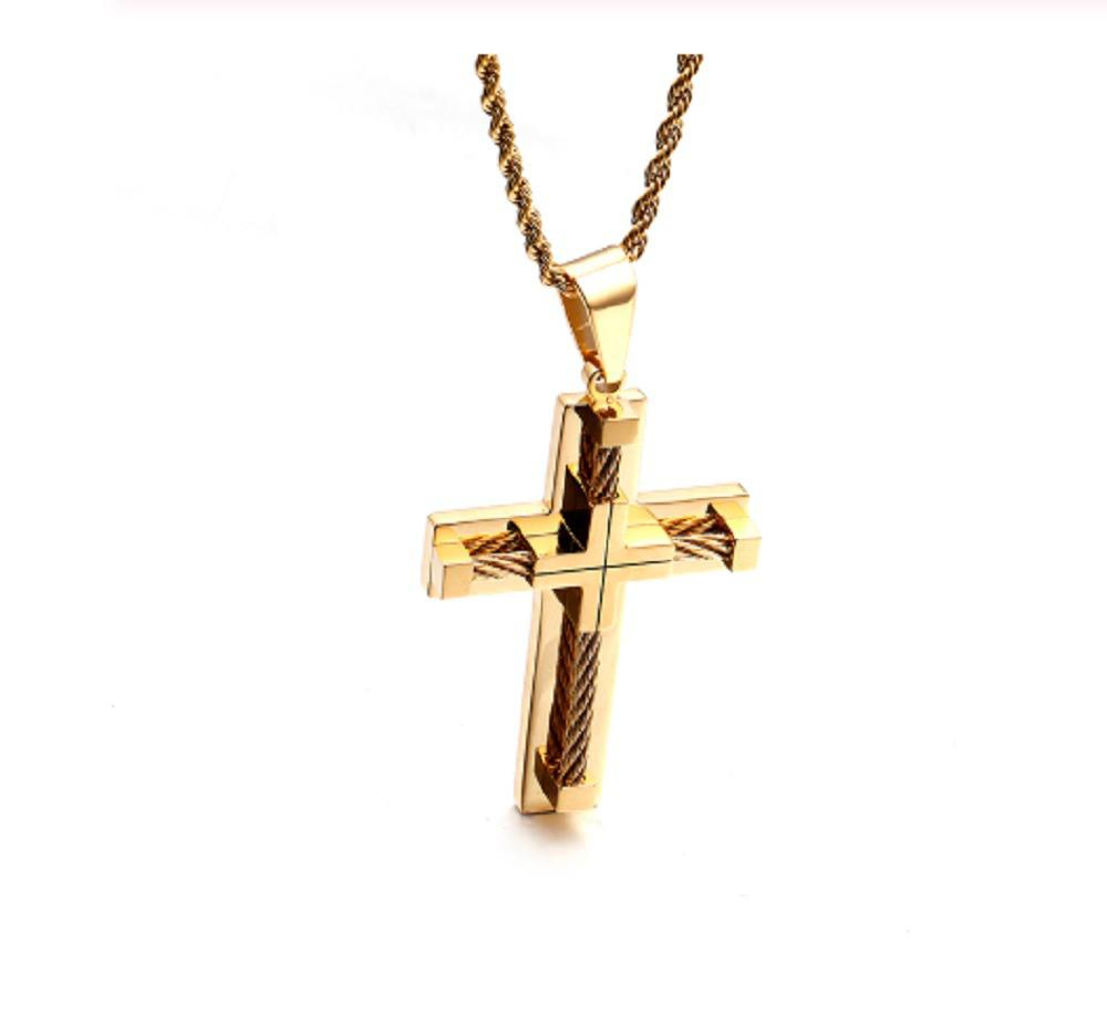 Pendant Crucifix Cross Necklace King Chain Stainless Steel Silver Black Colour