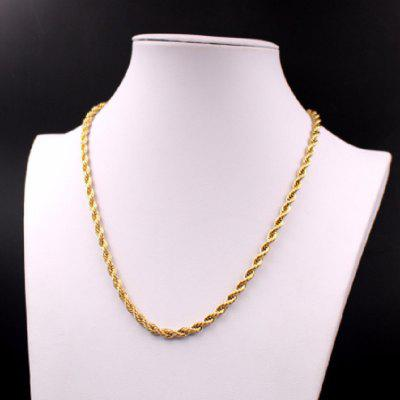 22 inch 4mm Stainless Steel Twist Rope Link-chain clavicle Necklace Women Men Jewelry Gold Chain