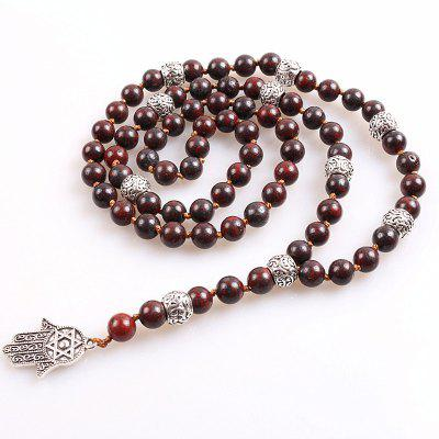 Men Fancy Necklace with 8mm Natural Stone Beads Pendant
