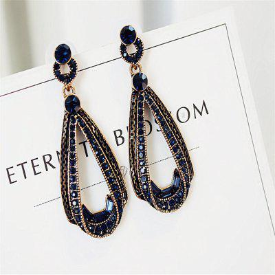 LUBOV Exaggerated Blue Crystal Lace Golden Metal Chain Drop Earrings Christmas Gift
