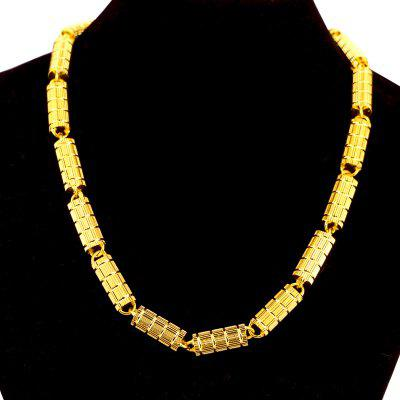 Heavy Round Column Necklace 18ct Real Yellow Gold Filled Mens Chain Thicken 8mm