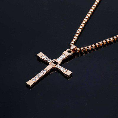 Hard Gas Actor Dominic Toretto Cross Necklace Pendant Chain Gold and Silver Color