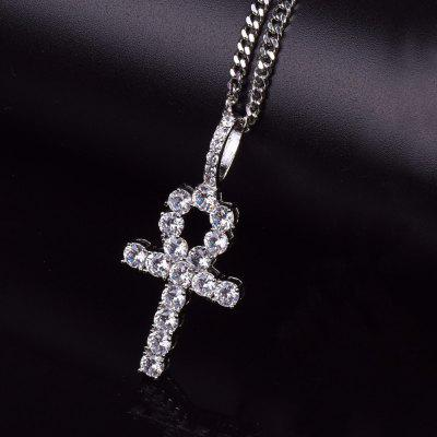 Iced Zircon Ankh Cross Pendant Chain Gold Silver Copper Pendant Necklace Men Women Hip Hop Jewelry