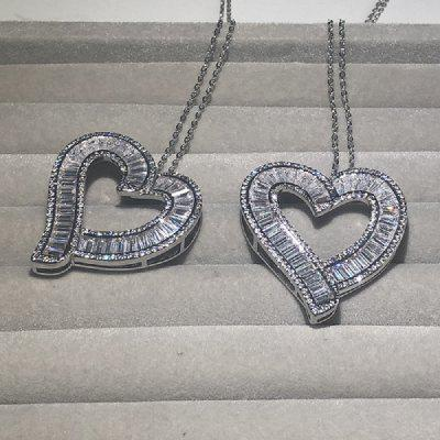 Luxury 925 Silver Heart Pendant Diamond Cross Chain Necklace Women Sparkling Princess-cut Topaz