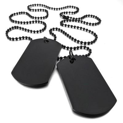 2 PCS Alloy Pendant Necklace Pendant Black Metal Double Dog Tag Army Tribal Style Chain Necklace