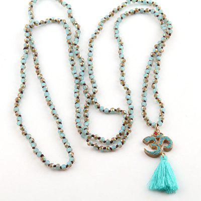 Fashion Bohemian Tribal Jewelry 4mm Rope Chain Mini Glass Knotted Blue Tassel OM Necklaces For Women