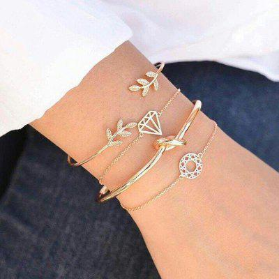 4pcs Fashion Bohemia Leaf Knot Hand Cuff Link Chain Charm Bracelet Bangle for Women Gold Bracelets