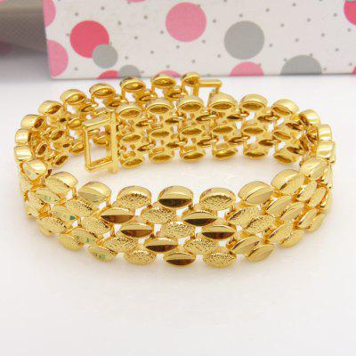 Solid Yellow Gold Wrist Chain Filled Wide Bracelet For Women Men