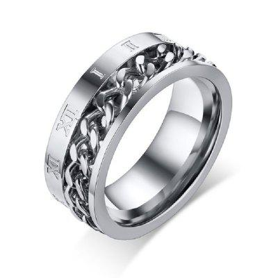 8MM Stainless Steel Spinner Ring Chain Roman Number Meditation Band  Male Jewelry