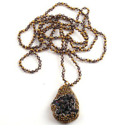 Fashion Bohemian Tribal 4mm Rope Chain Knotted Handmake Paved Natural Stone Pendant Necklaces