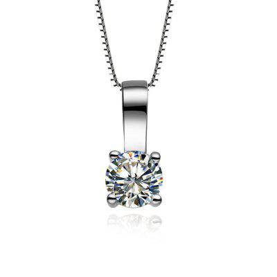 Synthetic Diamonds Pendant Necklace 22 Carat Gold Chain Four Claw Bright White Gold